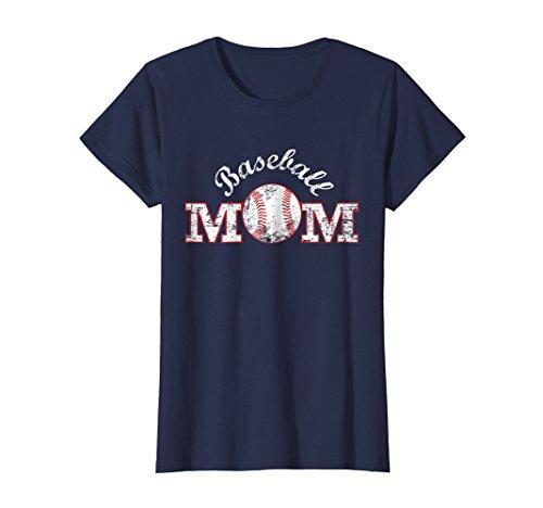 Baseball Mom Womens T-shirt - Womens Baseball Mom T Shirt, Gift Mother Mama Medium Navy