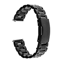 TRUMiRR 20mm Quick Release Watch Band Stainless Steel Strap Bracelet for Samsung Gear S2 Classic (SM-R7320,SM-R735) Moto 360 2 42mm 2015 Pebble Time Round Bradley Timepiece,Black