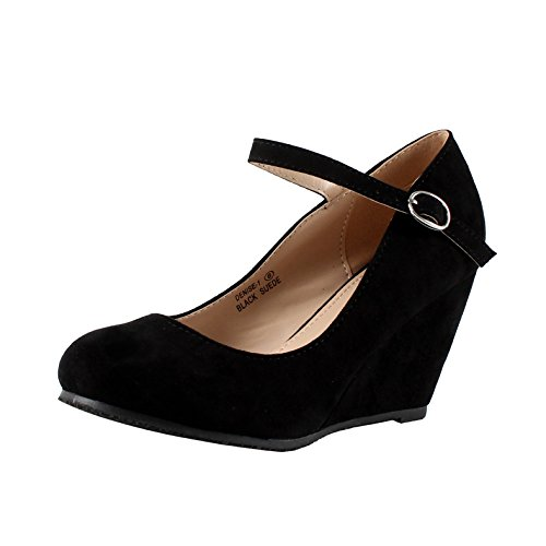 Bella Marie Denise-1 Women's Round Toe Wedge Heel Mary Jane Squeaky Strap Suede Shoes,Black,7.5
