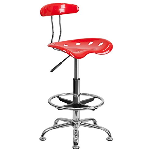 Flash Furniture Vibrant Red and Chrome Drafting Stool with Tractor Seat (Craftsman Adjustable Seat)