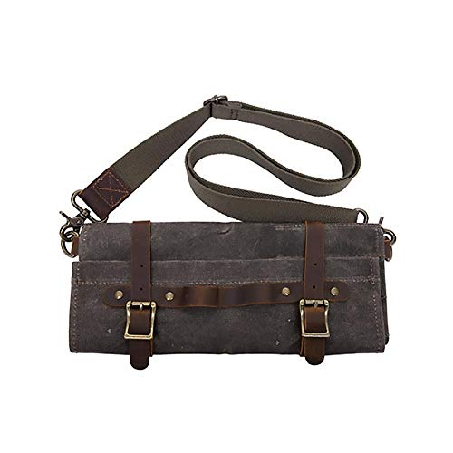 Sonita3008 Leather Roll Up Tool Bag Vintage Style Tool Bag Multi-Functional Hardware Tools Storage Pack Portable Folding Canvas Top Layer Leather Worker Handbag Army Green