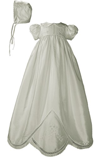 Little Things Mean A Lot Girls White Silk Dupioni Dress Christening Gown Baptism Gown with Hand Embroidery 3M