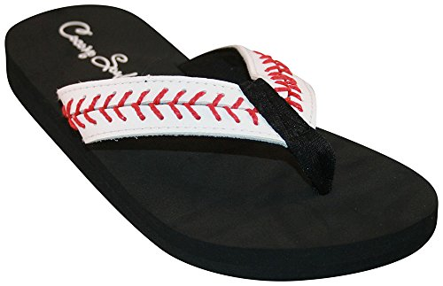 Cocomo Soul Baseball Stitch Leather Flip Flops (10) White ()