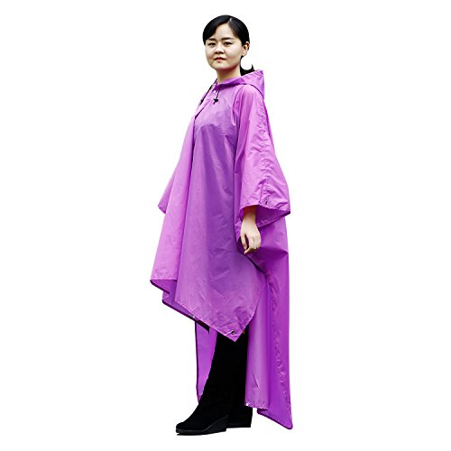iYoukes Poncho 3 to 1 Raincoat Backpack Waterproof Rain Cover, Multipurpose for Camping, Hiking, Climbing and Backpacking (Purple) -