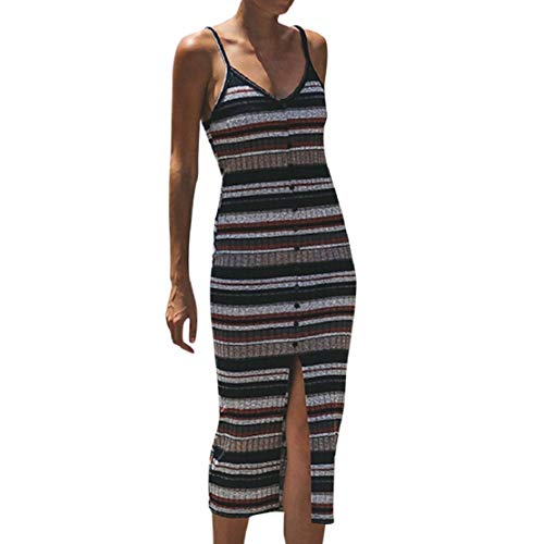 Women Summer Casual Spaghetti Strap Tank Dress Deep V Neck Button Dress Backless Striped Print Dress by Lowprofile Red
