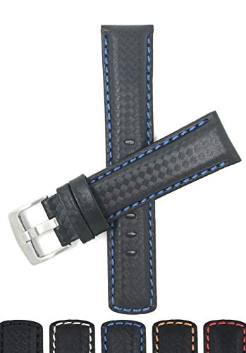 Bandini 20mm Mens Italian Leather Watch Band Strap - Carbon Fiber - Black with Blue Stitch ()
