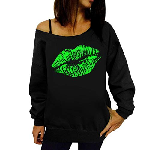 Rambling New Women's Sexy Pullover Lips Print Casual Off The Shoulder Slouchy Shirt Green