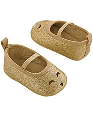 Baby Girl Carter's Gold Glitter Perforated Kitty Mary Jane Crib Shoes