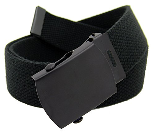 Men's Black Slider Military Belt Buckle with Canvas Web Belt Medium Black
