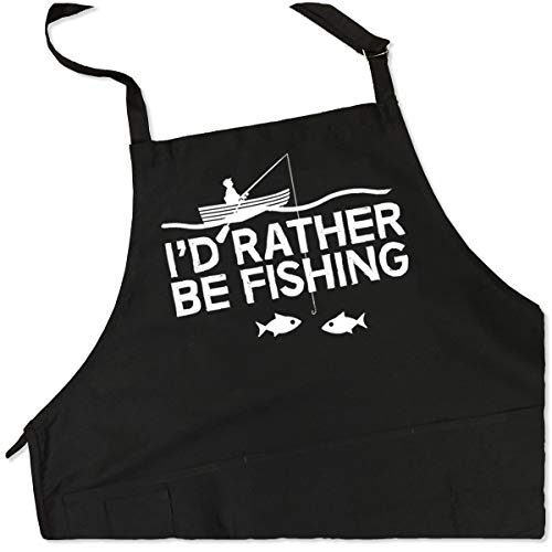 I'd Rather Be Fishing Apron - Funny BBQ Grill Apron for Fishermen - 1 Size Fits All Chef Quality Poly/Cotton 4 Utility Pockets, Adjustable Neck and Extra Long Waist -