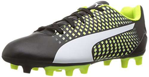 PUMA Kids' Adreno III FG Soccer-Shoes, Black White-Safety Yellow,2 M US Little Kid