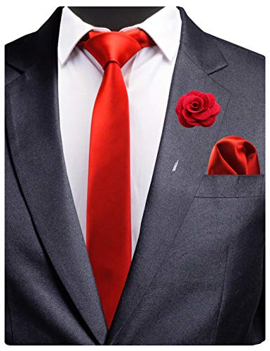 GUSLESON Red Slim Tie Handkerchief Set with Brooch Men Wedding Solid Skinny Necktie (0754-24)]()
