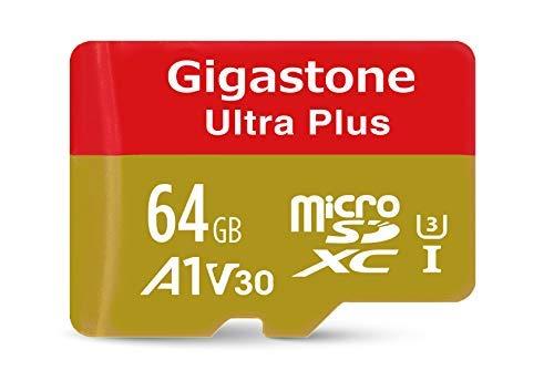 Gigastone 64GB Micro SD Card A1 V30 U3 C10 Class 10 Micro SDXC UHS-I Memory Card with MicroSD to SD Adapter High Speed 4K Ultra HD Video Camera Canon Dashcam DJI Drone GoPro Nikon Nintendo Samsung