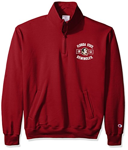 Champion NCAA Florida State Seminoles Men's Power Blend Fleece Quarter-Zip Jacket, Large, (Garnet Florida State Seminoles Jacket)