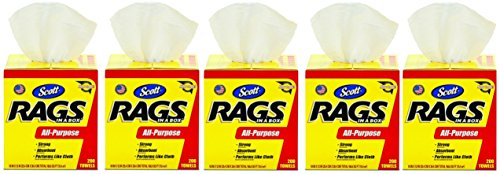 Kimberly-Clark Scott 75260 Rags in a Box, White (5 Cases of 200 Towels)