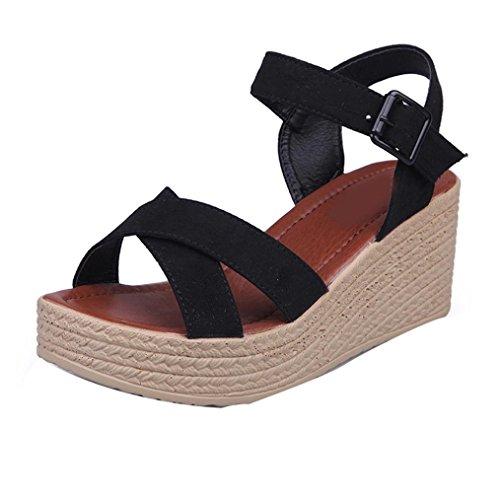 Webla Mujeres Verano Cruz Correa Flip Flops Sandalias Wedge Sandalias Plataforma Zapatos de playa Negro