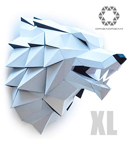 DIY Papercraft Wolf Head Precut Kit 3D Puzzle Game, Assembly of Animal Trophy, Paper Craft for walldecor, ORIGADREAM thrones, XL Size Version from DIY PAPERCRAFT