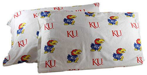 College Covers Kansas Jayhawks Pillowcase Pair Standard White