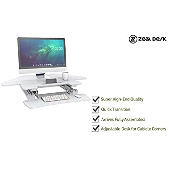 "Zeal Desk Corner Pro 40 Height Adjustable Cubicle Sit to Stand 40"" Tabletop Cubical Riser with Keyboard Tray Workstation Monitor Laptop Desk ZD-LD07T (White)"