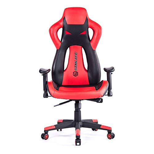 SimLife Computer Gaming Racing, Office Swivel Leather High-Back Executive and Ergonomic Desk Chair Seat Armrest Adjustable Red