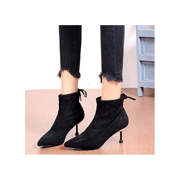 Lbtsq-moda scarpe Da Donna a Breve Gli Stivali Wild Battute Con Alto 6cm Piccole Scarpe A Punta Nude Sottile Tacchi Nero Camoscio Ma Dingxue
