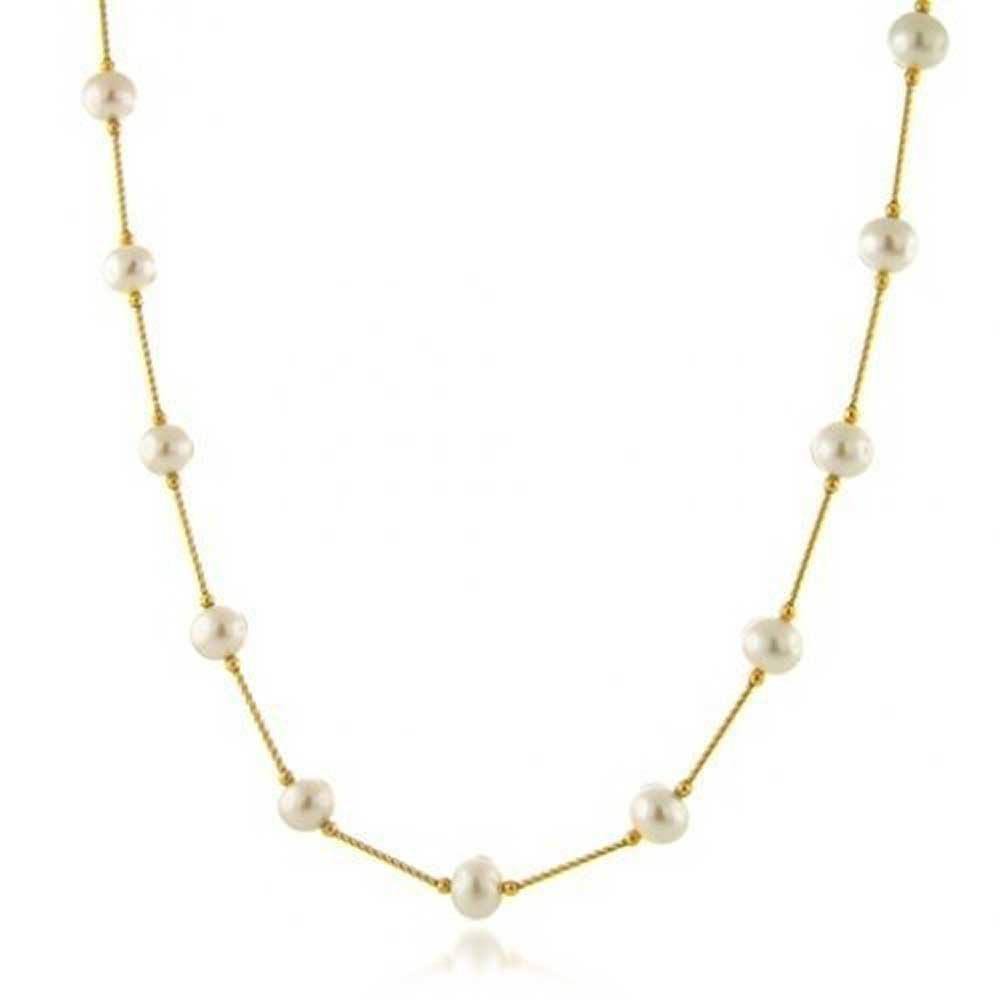 Bling Jewelry 14K Gold Freshwater Cultured Pearl Bar Link Tin Cup Necklace 16 Inches by Bling Jewelry