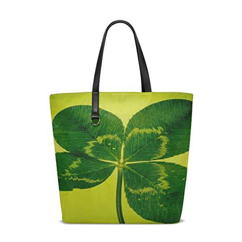 (JTMOVING Women Klee Four Leaf Clover Green Vierblttrig Handle Satchel Handbags Shoulder Bag Tote Purse Messenger Bags )