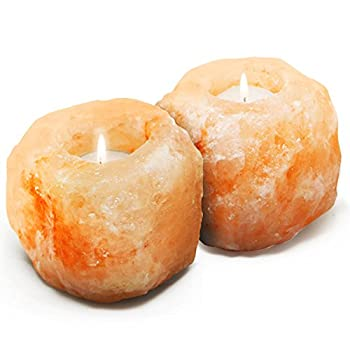 Betus [Natural Crystal] Himalayan Salt Candle Holder - Hand Carved Salt Rock Tealight Holder - Pack of 2