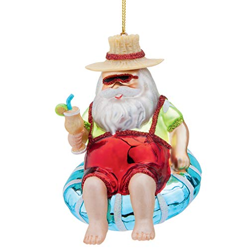 Design Toscano WD3649 Santa Chillin' in The Tropics Blown Glass Holiday Ornament, 3.5 Inch, Full Color