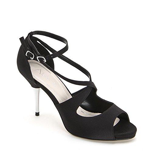 ALESYA by Scarpe&Scarpe - Sandalias altas con mini correas cruzadas Negro