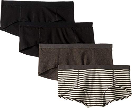 - Pact Women's Everyday Organic Cotton Boyshorts 4-Pack Black/Charcoal Stripe/Charcoal Grey X-Small