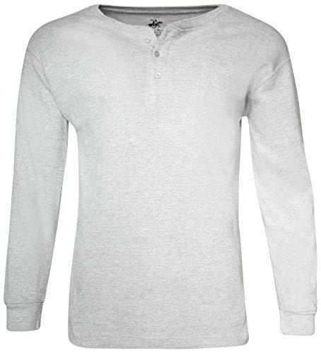 Beverly Hills Polo Club Men's Long Sleeve Thermal Henley Shirt, Heather Grey, Medium'