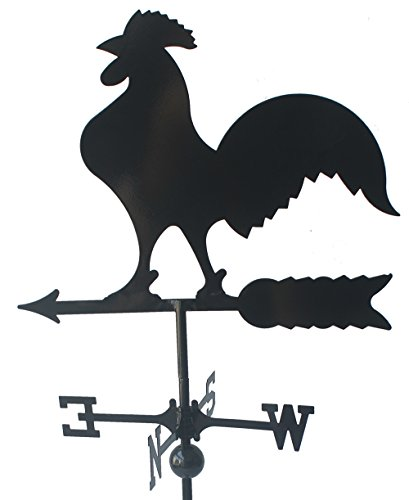 """Classic 32"""" Tall Black Rooster Weathervane with Adjustable Roof Mount"""