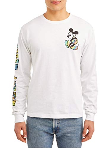 Disney Men's Mickey Mouse Sunshine Smile Double Sided Long Sleeve Tee T-Shirt (X-Large (46-48)) White ()