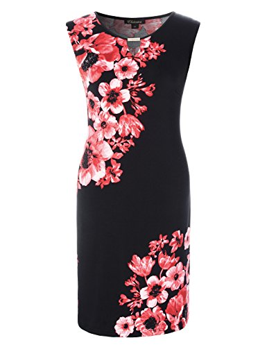 Chicwe Women's Plus Size Stretch Floral Printed Shift Dress - Keyhole and Metal Trim Pink 1X ()