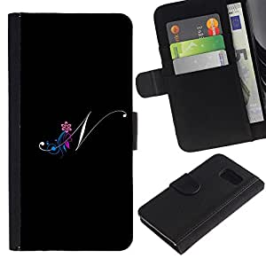 Billetera de Cuero Caso Titular de la tarjeta Carcasa Funda para Samsung Galaxy S6 SM-G920 / Black Initials Letter Calligraphy Text / STRONG