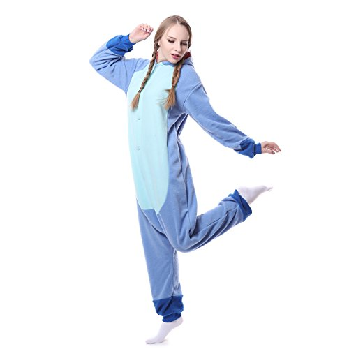 Unisex-adult Onesie Pajamas Kigurumi Stitch Animal Sleepwear for Halloween Party Costumes,Daily Cartoon Outfit(Blue,S)