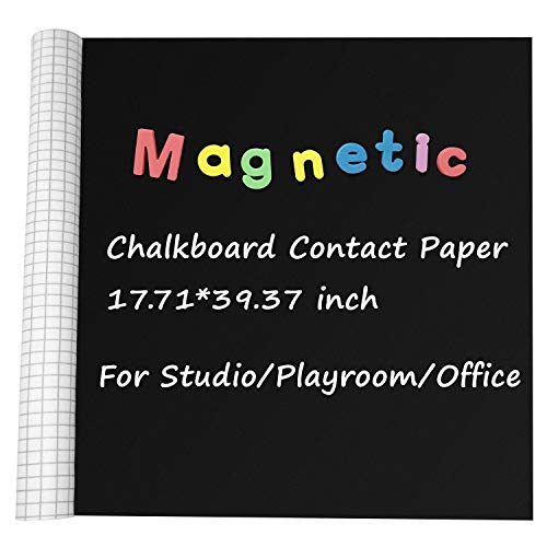 Magnetic Contact Paper Chalkboard w/ 5 Chalks, Self-Adhesive Magnetic Writing Blackboard for Studio Office Home Kitchen School, 17.71'' by 39.37'' Vinyl Chalk Board Decal Roll