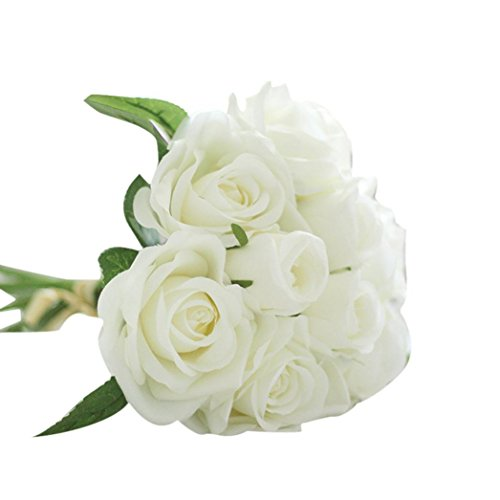 LtrottedJ 9 Heads Artificial Silk Fake Flowers Leaf Rose Wedding Floral Decor Bouquet (White)