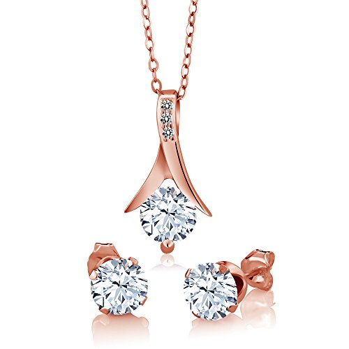 Gem Stone King 3.65 Ct Created Sapphire White Diamond 18K Rose Gold Plated Silver Jewelry Set