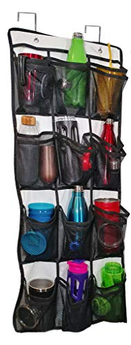 Over The Door Water Bottle, Travel Mug, Tumbler and Lid Organizer and Holder. Never Lose A Drink Cap Again. Pockets Keep 12 Matching To Go Coffee Cups and Covers Together Saving Time and Space.