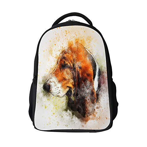 SARA NELL Kids School Bag Watercolor Cute Brown Beagle Puppy Dog Animal School Backpack Bookbag For Boys Girls
