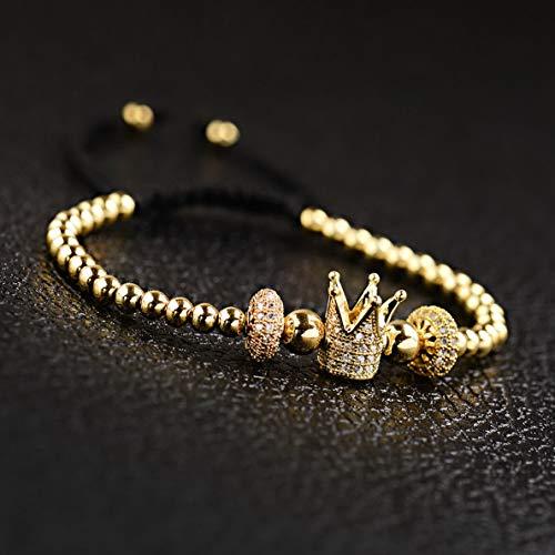 (Mikash 24kt Luxury Men Women Micro Pave Gold Braiding Macrame Bracelets Bangle Jewelry | Model BRCLT - 38381 |)
