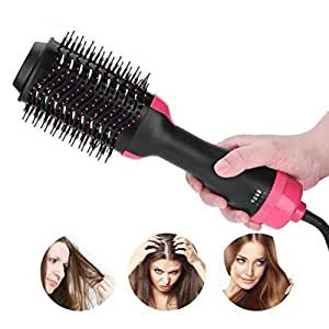 One Step Hair Dryer & Volumizer Hair Dryer & Volumizing Styler Comb 3-in-1 negative ion Straightening Brush Salon Hair Straightener Brush Curler for All Hair Types