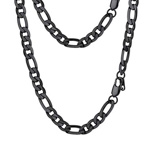 PROSTEEL Figaro Link Black Necklace Stainless Steel 9mm Big Wide Chain Chunky Choker Necklace 18'' Men Jewelry Gift