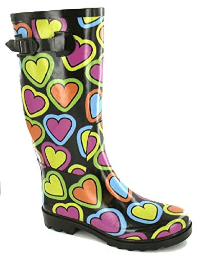 3 4 7 Women's Welly UK Size Black Fashion Ladies Wellington Festival Waterproof Heart 6 Shoes 5 Boots Wellies 8 qvxFPAqw
