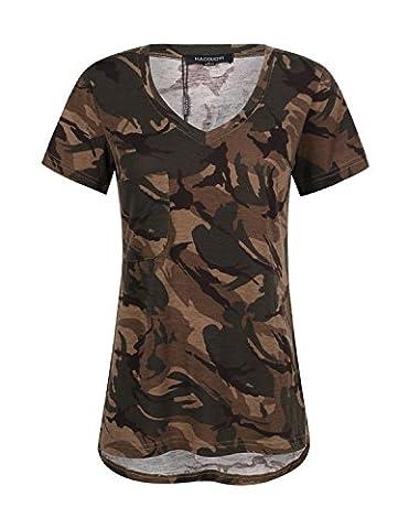 HaoDuoYi Womens Camo Camouflage Jersey Longer V Neck Top Tee T Shirt(L,Woodland Camo) - Woodland Camouflage Tee T-shirt Top