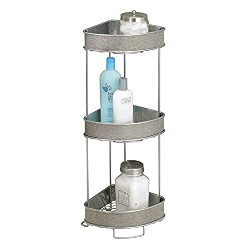 MDesign Free Standing Bathroom Corner Storage Shelves For Towels, Soap,  Candles, Tissues, Lotion, Accessories   3 Tier, Metallic