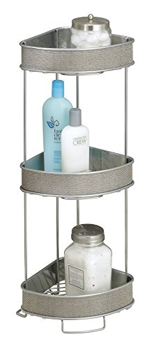 MDesign Free Standing Bathroom Corner Storage Shelves for Towels, Soap, Candles, Tissues, Lotion, Accessories - 3 Tier, Metallic