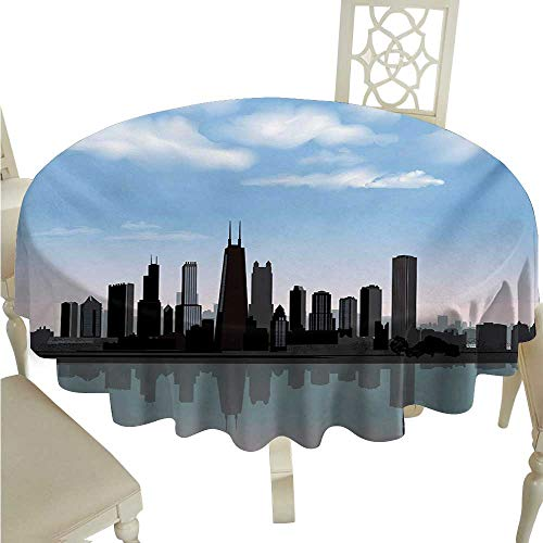 (Chicago Skyline Decorative Textured Fabric Tablecloth Day Time Illinois Missisippi River Clouds Coastal Town Urban Design Washable Polyester - Great for Buffet Table, Parties, Holiday Dinner, Wedding)